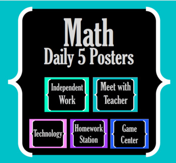 Math Daily 5 Posters Centers Rotations Math Daily 3 EDITABLE!!