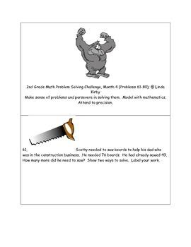 Math-2nd Grade-Month 4: Challenge Problem Solving, (Questi