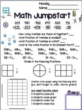 Math Daily Jumpstarts Week 4