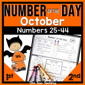 First Grade Math~Number of the Day~Common Core~Oct.~ No Prep, Just Print