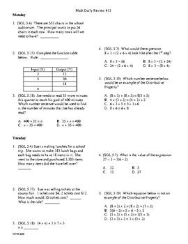 5th Grade Math Daily Review Week 13