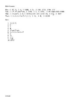Math Daily Review Grade 5 Week 16