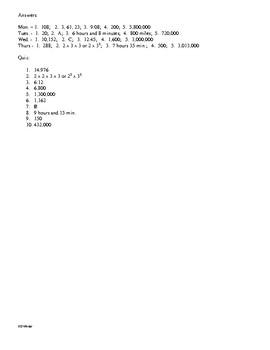 5th Grade Math Daily Review Week 7
