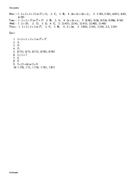 Math Daily Review Grade 5 Week 10