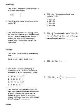 5th Grade Math Daily Review Week 18