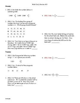 5th Grade Math Daily Review Week 19