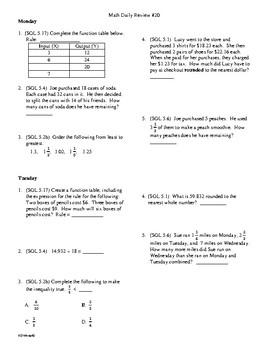 5th grade Math Daily Review Week 20