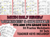 Math Daily Review Worksheet Bundle - 5th Grade SOL's - 30 WS, Keys, & 30 Tests!