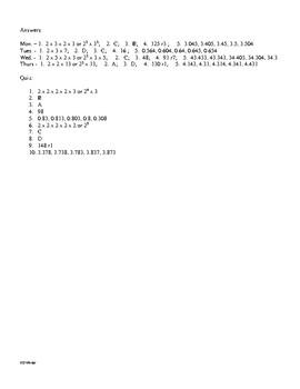 5th Grade Math Daily Review Week 10