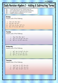 Math Daily Revision Worksheets - Algebra 1 Adding & Subtracting Terms