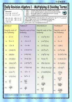 Math Daily Revision Worksheets - Algebra 1 Multiplying & Dividing Terms