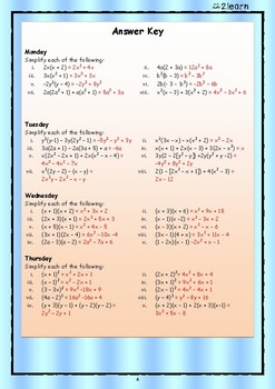 Math Daily Revision Worksheets - Algebra 1 Multiplying Terms with Brackets