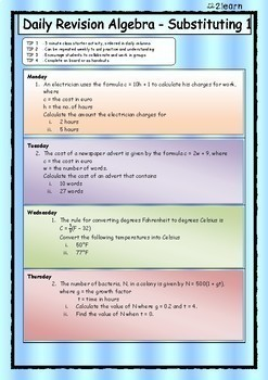 Math Daily Revision Worksheets - Algebra 1 Substitution