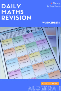 Math Daily Revision Worksheets - Algebra 1 Substitution questions FREE