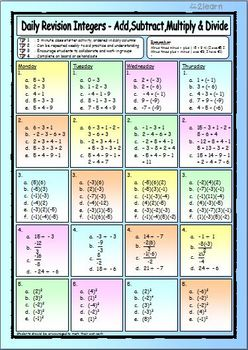 Math Daily Revision Worksheets - Integers - Add, Subtract, Multiply & Divide