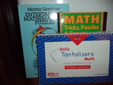 Math Daily Tantalizers Math,& MATH tricks,puzzles & Games (set of 3)