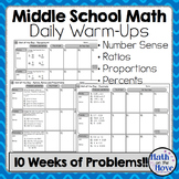 Daily Warm Ups for Middle School Math - Number Sense, Ratios and Proportions
