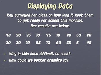 Math Data Measurement Stem Leaf Plot Graph PowerPoint Common Core CCSS MAFS