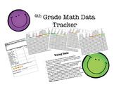 4th Grade Math Data Tracker For Entire Year's Math Common Core Standards