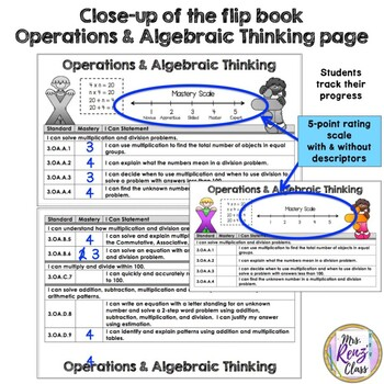 Math Data Tracking Flip Book  3rd Grade 5 Point Scale