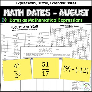 Math Dates, August | Math Enrichment | Number Puzzles