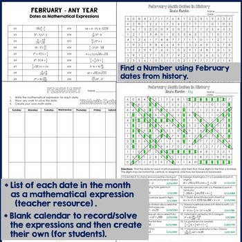 Math Dates, February - Dates as Mathematical Expressions