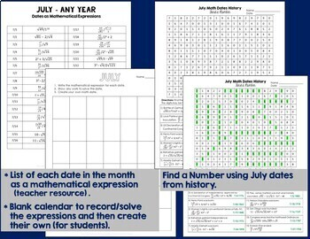 Math Dates, July | Math Enrichment | Number Puzzles