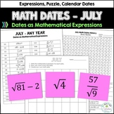 Math Dates, July | Bulletin Board | Number Puzzles