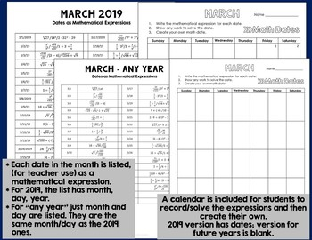 Math Dates, March - Dates as Mathematical Expressions