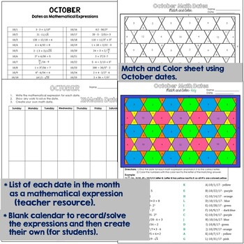 Math Dates, Number Puzzle, October, Grades 4-5