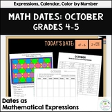 Daily Math Dates October, Grades 4-5 | Calendar | Color by Number