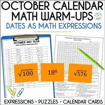 Math Dates, October | Math Enrichment | Number Puzzles