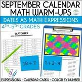 Daily Math Dates, September, Grades 4-5 | Calendar | Color