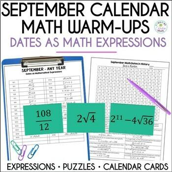 Math Dates, September   Math Enrichment   Number Puzzles