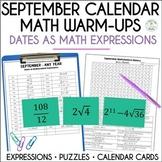 Math Dates, September | Math Enrichment | Number Puzzles