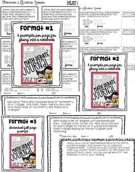Math Debate Journal Grade 4