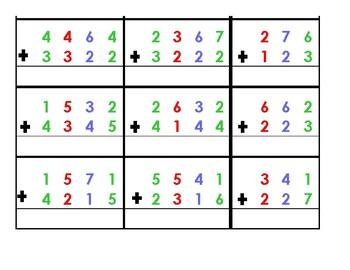 Math- Decimal Math  addition problems for Base 10 Blocks------Montessori