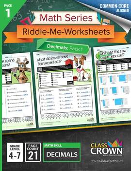 Math Decimals Worksheets - Math Riddles - 4th, 5th, 6th, 7th Grade - Common Core