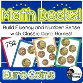 Math Decks! Build Fluency with Card Games (Euro Coins)