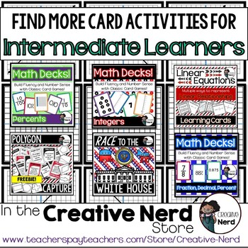 Math Decks! Build Fluency with Card Games (Functions) - FREEBIE!!