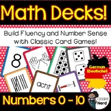 Math Decks! Build Fluency with Card Games (Numbers 0 - 10) (German)(Deutsche)