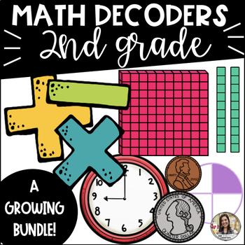 Math Decoder Activities GROWING Bundle: 2nd Grade Standards