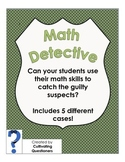 Math Detective: Math Mysteries 5-Pack -- Covers Multiple Skills