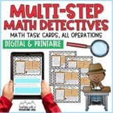 Multi-Step Math Detectives Task Cards   Distance Learning