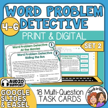 Word Problem Detective Task Cards: Advanced (Multi-Step)