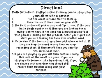 Math Detectives: Multiplication Memory 6's and 7's