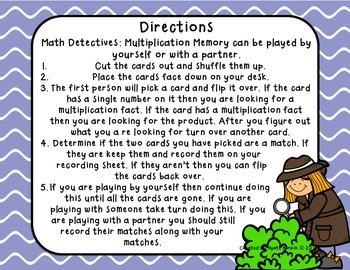 Math Detectives: Multiplication Memory 8's and 9's
