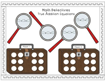 Math Detectives - True Addition Equations (First Grade Addition Game)