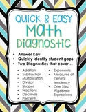 Math Diagnostic with Answer Key