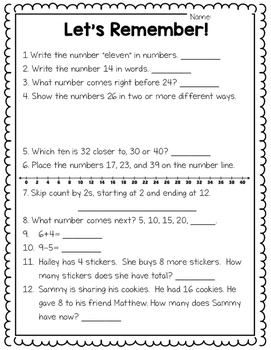 Math Diagnostic: Grade 2 Ontario Beginning of the Year Math Assessment